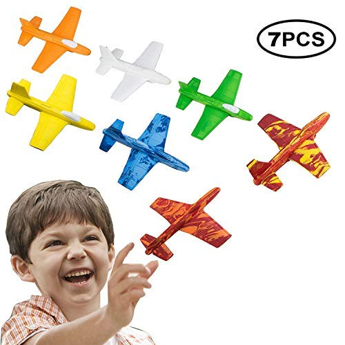 US Sense 7 Packs Flying Glider Plane Model Set, Airplane Construction Kits Flying Toys Gifts for Boys and Girls, Indoor and Outdoor Game