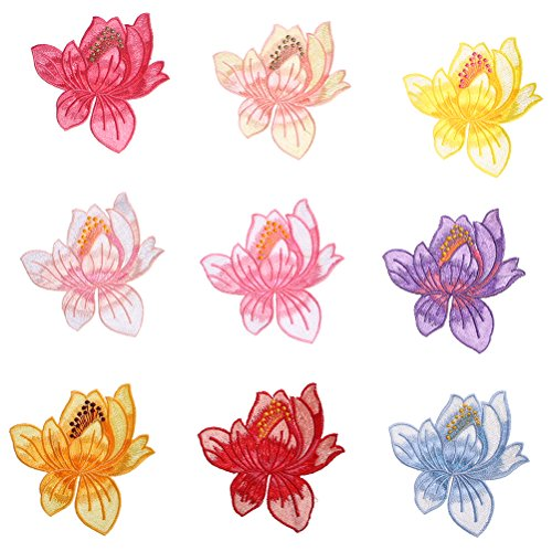 37YIMU 9 X Lotus flower Applique Embroidered Iron on Patches