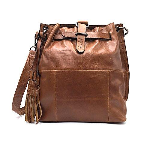 - Sheli Womens Aged Brown Unique Design Leather Fringe Covertible Hobo Drawstring Crossbody Purse Handbag Backpack