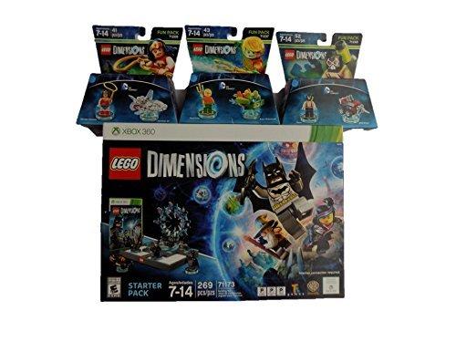 Lego Dimensions XBOX 360 Starter Pack 71173 & DC Comics-Wonder Woman / Invisible Jet 71209 & DC Comics-Aquaman/Aqua Watercraft 71237 & DC Comics-Bane/Drill Driver 71240 ( Bundle of 4 )