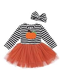 Vinjeely Toddler Girls Pumpkin Striped Long Sleeve Halloween Dress+Headbands Set