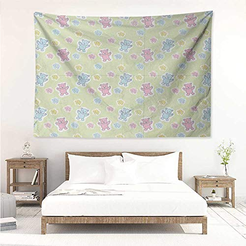 alisos Nursery,Beach Tapestry Baby Toy Drawing Pattern with Soft Colored Teddy Bears and Wildflowers 84W x 70L Inch Home Decorations Wall Tapestries Pale Green Pink Blue