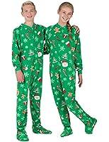 Footed Pajamas - Tis The Season Kids Fleece