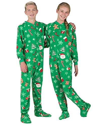 Footed Pajamas Family Matching Tis The Season Kids Fleece Onesie-XSmall Green