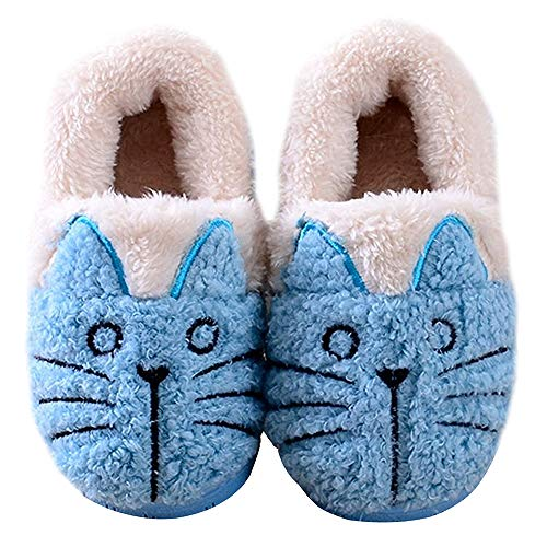 Cute Slippers Cat Booties Kids Warm Women Blue Family House E7z6Wqfw