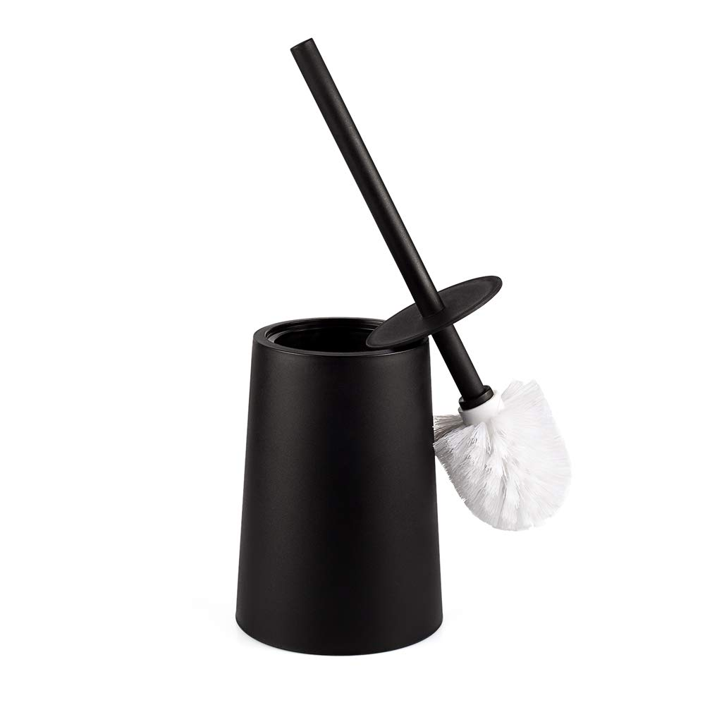 KOLLIEE Black Toilet Brush Holder Plastic Bathroom Toilet Brushes and Holders Set For Bathrooms With Lid Toilet Bowl Brush and Holder