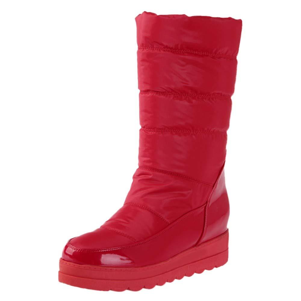 Mymyguoe Botas De Nieve para Mujer Zapatos A Prueba De Agua De Invierno Black Friday Botas Calientes De Punta Redonda Botas Calientes Tacon bajo Fondo Plano Taló n Grueso Antideslizantes
