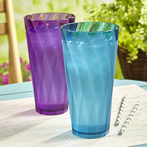 Optix 26-ounce Plastic Tumblers | set of 8 in 4 assorted colors by US Acrylic (Image #1)