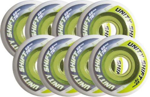 Hyper Inline Skate Wheels 74mm 76a Unity Shift Roller Hockey x8 Green by Hyper