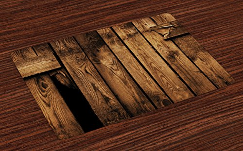 - Lunarable Farmland Place Mats Set of 4, Vertical Striped Old Timber Backdrop in Dirt with Hole Ruins Abandoned Village Art, Washable Fabric Placemats for Dining Room Kitchen Table Decoration, Brown