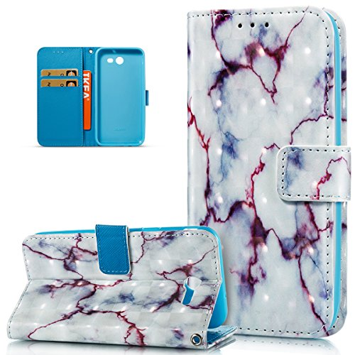 Galaxy J3 Emerge Case,Galaxy J3 Eclipse Case,J3 Mission Case,J3 Prime Case,Galaxy Express Prime 2 Case,ikasus 3D Art Painted Marble Flip Folio Wallet Case PU Leather Stand Card Slots Case Cover,Purple -