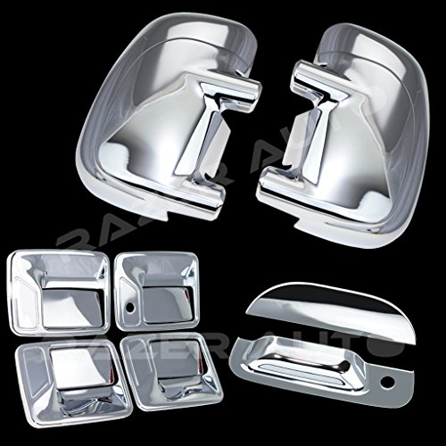 Razer Auto Triple Chrome Plated Mirror, 4 Door Handle without Passenger Keyhole, Tailgate Handle Cover for 99-07 Ford F250+F350+F450 Super Duty