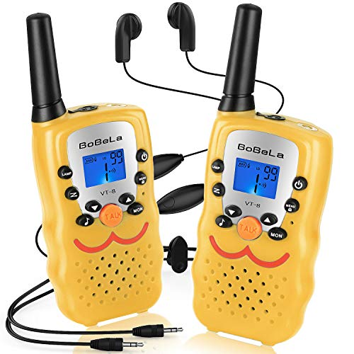 Bobela  Two-Way-Radios with Headset and Mic, CB FCC Wakie-Talkies 3-Mile Range 22-Channels Built-in Flashlight Microphone Button Lock LCD Display (2 Pack Yellow VT8)
