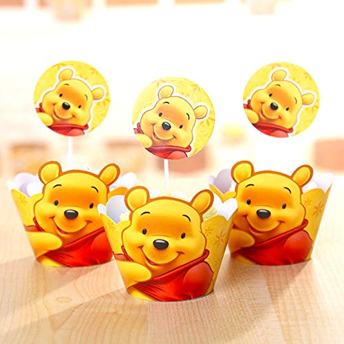 1 lot Boys Favors Birthday Party Decorate Baby Shower Winnie The Pooh Theme Cake Toppers DIY Cupcake Wrappers Events Supplies 24pc/lot - Bear Pooh Cake Birthday