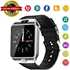DZ09 Bluetooth Smart Watch - WJPILIS Smart Wrist Watch Smartwatch Phone Fitness Tracker SIM Card Slot Camera Pedometer Compatible iOS iPhone Android Samsung Phones Men Women Kids (Silver1)