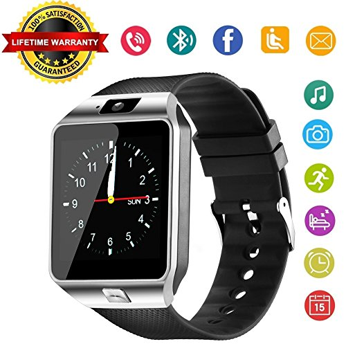 Aeifond Smart Watch DZ09 Bluetooth Smartwatch Touch Screen Wrist Watch Sports Fitness Tracker with Camera SIM SD Card Slot Pedometer Compatible iPhone iOS Samsung LG Android Men Women Kids (Silver1)
