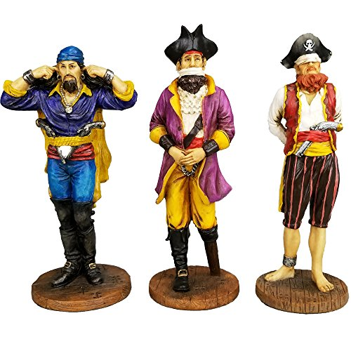 (Set of Three Pirate See Hear Speak No Evil Decorative Shelf Sitter Figurines 5.5 inch tall)