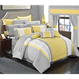 Chic Home 24 Piece Danielle Complete Pintuck Embroidery Color Block Bedding, Sheets, Window Panel Collection Bed in a Bag Comforter Set, King, Yellow