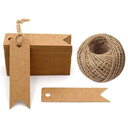 G2PLUS 100 PCS Kraft Paper Tags with String Craft Gift Tags Mini Size 7 cm x 2 cm Wedding Brown Hang Tags with 30 Meters Jute Twine (Brown) ()