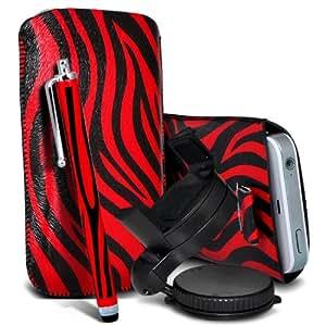 Samsung Galaxy Ace 2 I8160 Protección Premium de Zebra PU tracción Piel Tab Slip Cord En cubierta de bolsa Pocket Skin rápida Con Matching Large Stylus pen & 360 Sostenedor giratorio del parabrisas del coche cuna Rojo y Negro por Spyrox