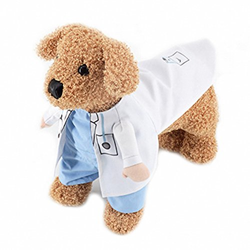 Pet stand posture clothes OMEM puppy cat costumes for waiter,dessert division, nurse, police, soldier,boxer, racing, doctor, adventurer variety of pet garment funny dog cat clothing (Pet Doctor Costume)