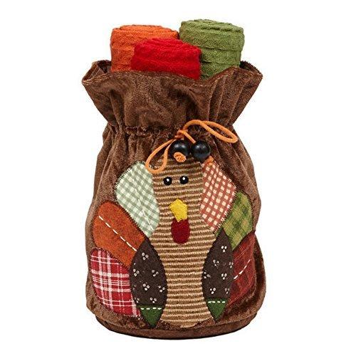 DII Turkey Felt Bag with 3 Dishtowels Gift Set