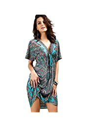 Katuo Floral Sexy V-neck Dress Summer Beach Dress Plus Size