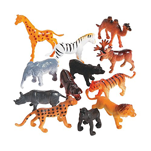 Set Chest Figurine (Plastic Safari Animals - Pack Of 12 - 2 Inches - Wild Jungle Animal Figures Science Learning Resource - Party Pack - For Kids Great Party Favors, Bag Stuffers, Fun, Toy, Gift, Prize - By Kidsco)