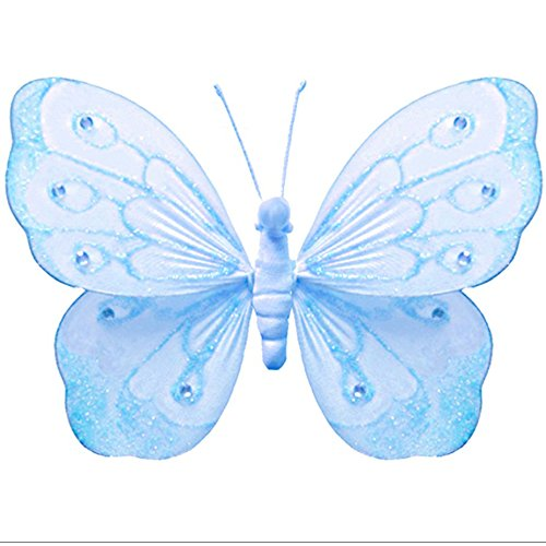 Hanging Butterfly Large 13 Blue Shimmer Mesh Nylon Butterflies Decorations Decorate Baby Nursery Bedroom Girls Room Ceiling Wall Decor Wedding Birthday Party Baby Shower Bathroom Kid Child 3D Art
