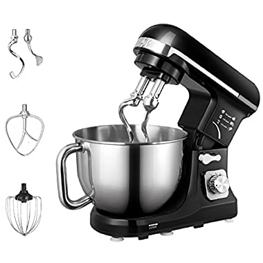Aicok Stand Mixer, Food Mixer, Kitchen Electric Mixer with Double Dough Hook, Whisk, Beater, Splash Guard, 6-speed, 5-Quart Stainless Steel Bowl, Black