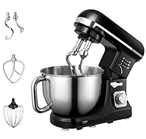 Aicok Stand Mixer, Food Mixer, Kitchen Electric Mixer with Double Dough Hook, Whisk, Beater, Splash Guard, 6-speed, 5 Quart Stainless Steel Bowl, Black