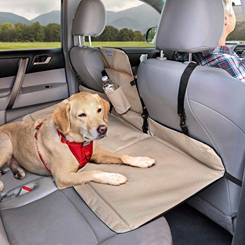 Kurgo Dog Backseat Bridge Car Extender | Seat Bridge for Dogs | Padded Pet Car Barrier | Reversible | Water Resistant | Universal Fit | Cup Holder & Pocket | - Harness Storage