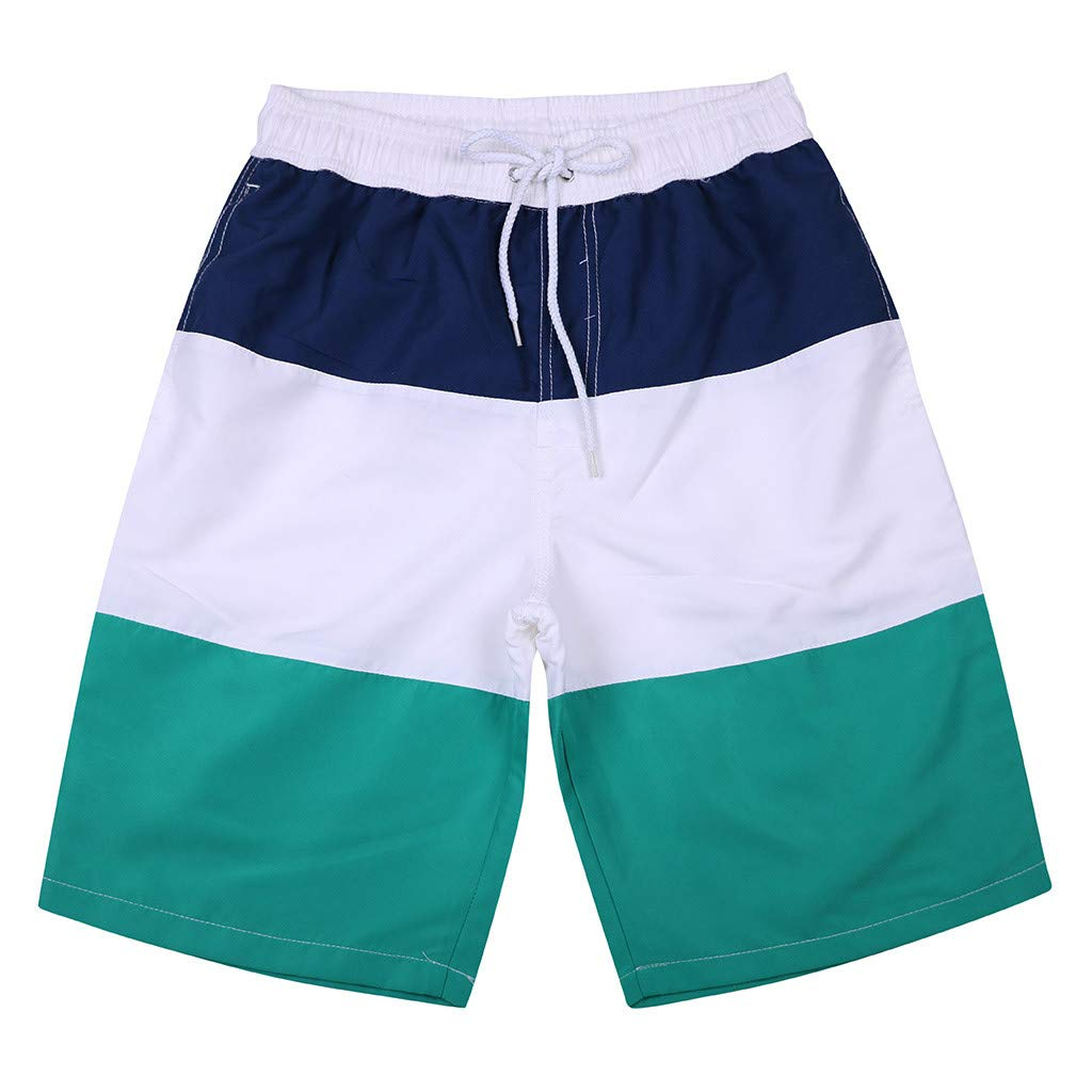 WUAI Mens Swim Trunks Casual Stripe Loose Fit Quick Dry Board Shorts Sportwear(Green,US Size S = Tag M)