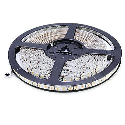 SODIAL(R) 5m SMD 2835 600 LED 12V 72W 7500LM IP65 Dust Density Sealed Warm White LED Light Strip Lamp Strip Ribbon Tube Lights