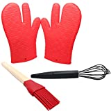 Silicone Kitchen Utensils Set - Silicone Grill Gloves Silicone Coated Whisk & Silicone Food Brush - Protective Oven Grill BBQ Fireplace Microwave Baking Smoking and Cooking Gloves for Men and Women