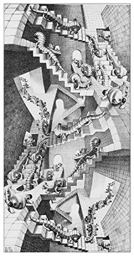 Artopweb Escher - House of Stairs (Decorative Panel 14.5x28.5 inches) 14.5