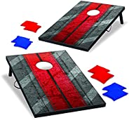 Backyard Champs Corn Hole Outdoor Game: 2 Portable MDF Cornhole Boards and 8 Bean Bags, 2 x 3 Foot with Rope H