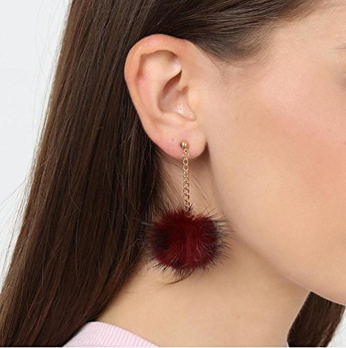 Wine oreille petite mignonne Red pendentif stud boule boucles d'oreilles de long pendentif tempérament cheveux Lady nRYwqaOOZ