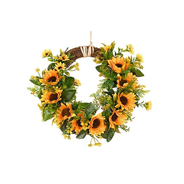 PinnacleT1 Artificial Sunflower Wreath for The Front Door – 12″ Realistic Fake Floral Twig Door Hanging Harvest Wreath for Office Wedding Wall Party Home Decor