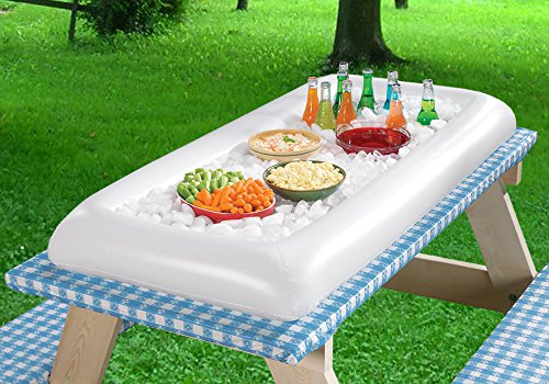 Inflatable Serving Bar Salad Ice Tray Food Drink Containers - BBQ Picnic Pool Party Supplies Buffet Luau Cooler,with a drain plug by Moon Boat (Image #2)