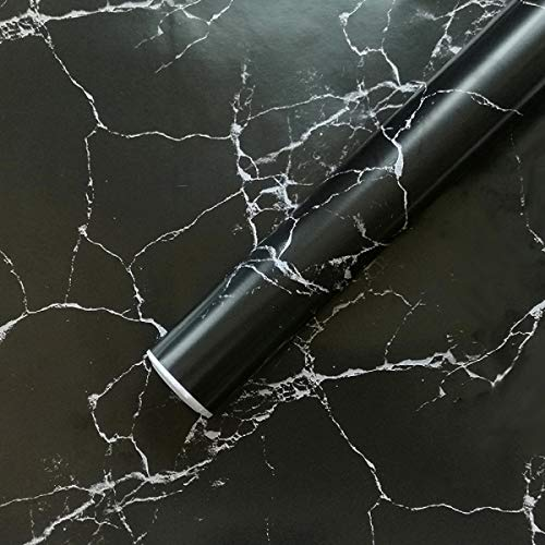 """Black Marble Contact Paper 17.71""""x 393.7""""Decorative Self Adhesive Wallpaper Peel and Stick Countertops Contact Paper Film for Home Kitchen Furniture Removable Waterproof Stain-Resistant Matte"""