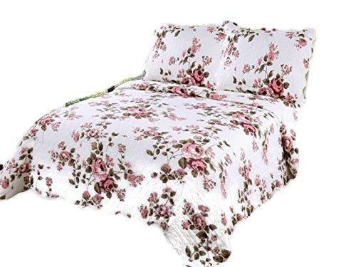 English Rose King Quilt - English Roses Quilt Microfiber Quilt set,prewashed, preshrunk. Hypoallerginic, Pattern Stitched with Real Threads, machine quilting, Ultra soft King bed-cover 90