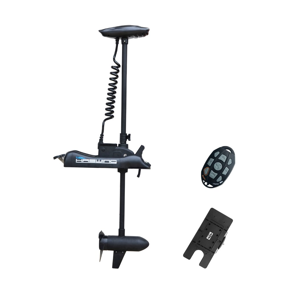 Aquos Black Haswing 12V 55LBS 48'' Shaft Bow Mount Electric Trolling Motor Portable, Variable Speed with Quick Release Bracket for Bass Fishing Boat Freshwater and Saltwater Use,Energy Saving by Aquos