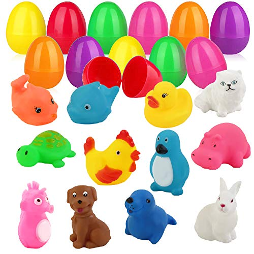 ZLIXING 12 Pcs Prefilled Plastic Easter Eggs Filled with Toys Inside, Easter Basket Stuffers for Toddlers Baby Boys Girls Kids Easter Egg Gifts Toy Hunt Games