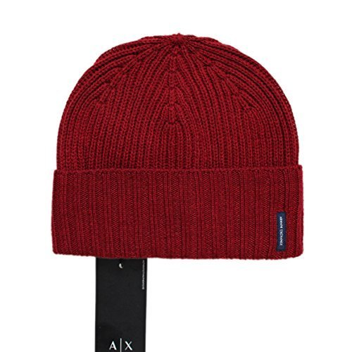16b273d8e2c Armani Exchange Men s Logo TAB Cable Knit Beanie HAT Cap Blue RED ONE Size