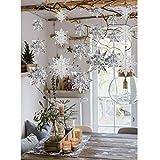 Crafare - Juego de 18 copos de nieve colgantes para Navidad, invierno, día festivo, Año Nuevo, fiesta, decoración del hogar