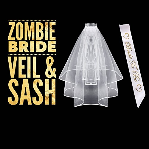 Bride Halloween Costumes (Halloween Costumes For Women - Zombie Bride Costume Accessories - Bridal Veil and Sash)