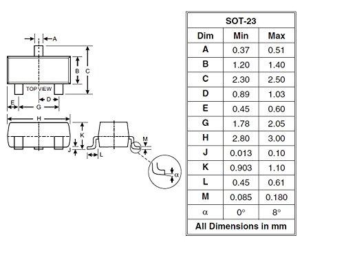 Ta 225mW Ta Surface Mount SOT-23-3 MCIGICM 200pcs BSS138 N-Channel mosfet Transistor 50V 200mA