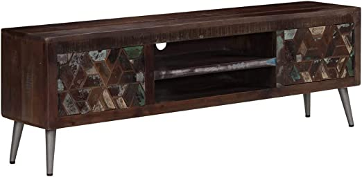 Festnight Tv Schrank Vintage Fernsehtisch Tv Lowboard Tisch Retro Fernsehschrank Holz Tv Board Massives Altholz 140 X 30 X 45 Cm Amazon De Kuche Haushalt
