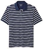 Amazon Essentials Men's Slim-Fit Striped Cotton Pique Polo Shirt, Navy/White Stripe, Large